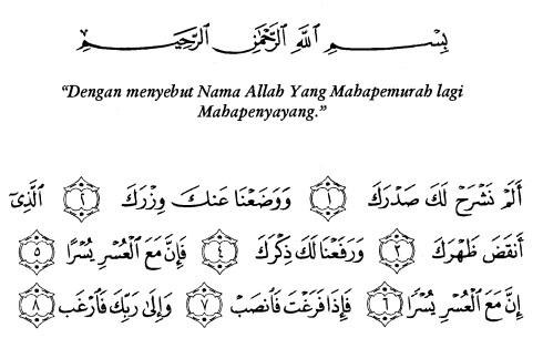 tulisan arab alquran surat al-insyirah ayat 1-8