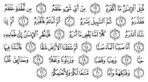 tulisan arab alquran surat 'abasa ayat 17-32