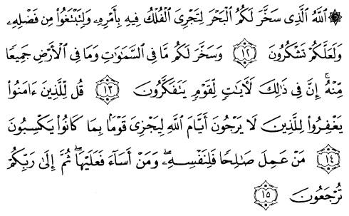 tulisan arab alquran surat al jaatsiyah ayat 12-15