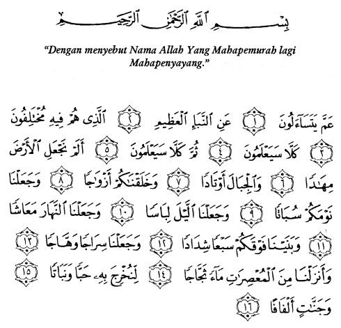 tulisan arab alquran surat an naba' ayat 1-16