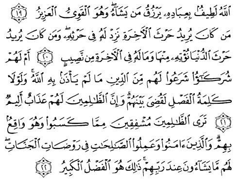 tulisan arab alquran surat asy syuura ayat 19-22