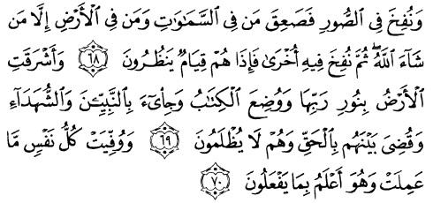 tulisan arab alquran surat az zumar ayat 68-70
