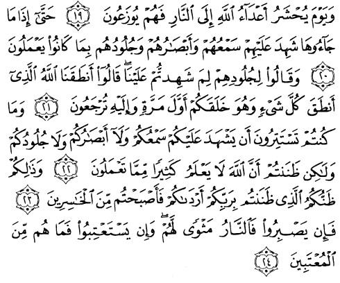 tulisan arab alquran surat fushilat ayat 19-24