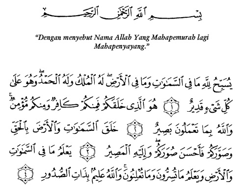 tulisan arab alquran surat at taghaabun ayat 1-4
