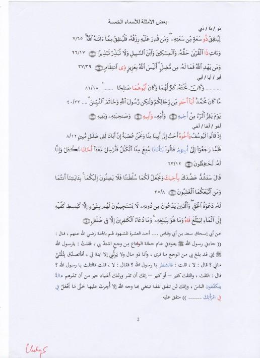 contoh asmaul khamsah