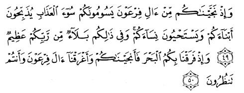 tulisan arab surat albaqarah ayat 49-50