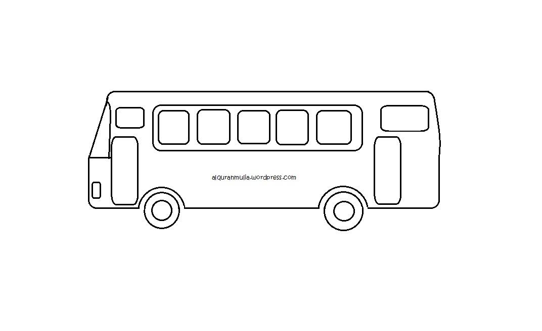 Mewarnai Gambar Bus2 Anak Muslim Alquranmulia