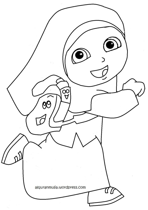 Mewarnai gambar Dora anak muslim