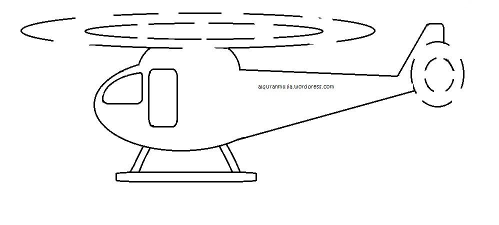 Mewarnai Gambar Helikopter Anak Muslim Alqur Anmulia