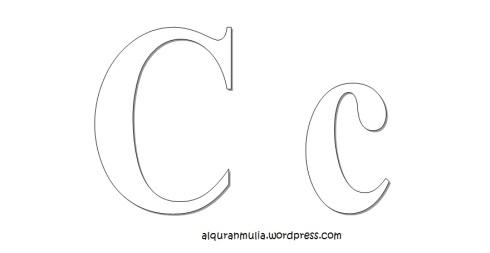Mewarnai gambar huruf Alphabet C anak muslim