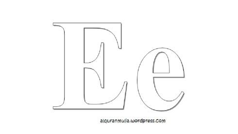 Mewarnai gambar huruf Alphabet E anak muslim