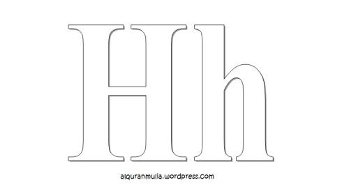 Mewarnai gambar huruf Alphabet H anak muslim