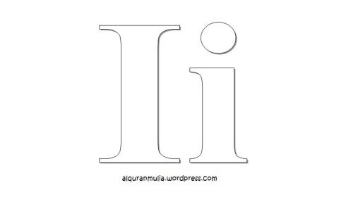 Mewarnai gambar huruf Alphabet i anak muslim