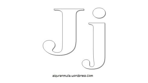 Mewarnai gambar huruf Alphabet J anak muslim