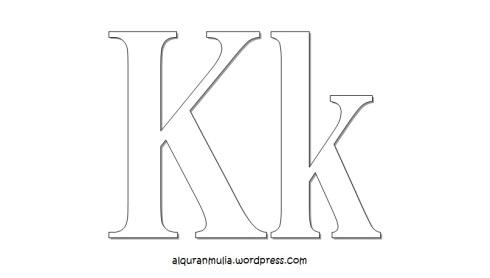 Mewarnai gambar huruf Alphabet K anak muslim