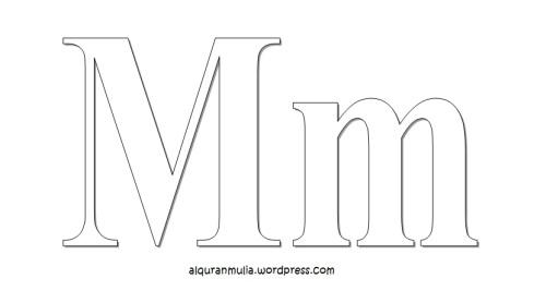 Mewarnai gambar huruf Alphabet M anak muslim
