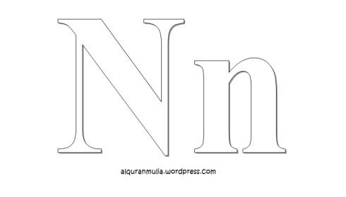 Mewarnai gambar huruf Alphabet N anak muslim