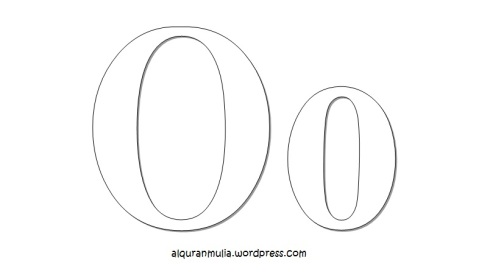 Mewarnai gambar huruf Alphabet O anak muslim