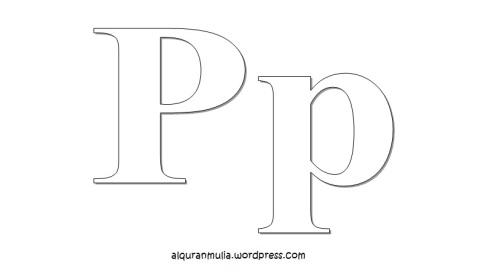 Mewarnai gambar huruf Alphabet P anak muslim