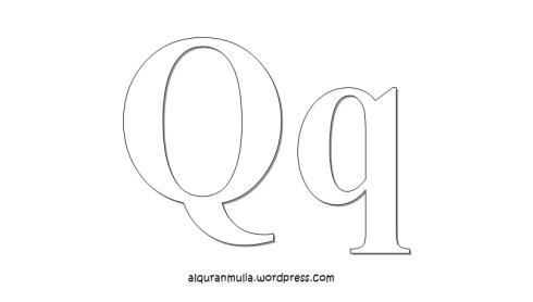 Mewarnai gambar huruf Alphabet Q anak muslim