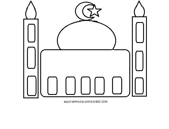 Mewarnai Gambar Masjid Anak Muslim Alqur Anmulia
