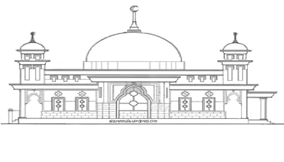 Mewarnai gambar masjid2 anak muslim