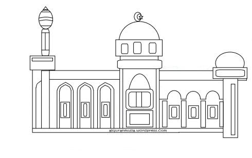 Mewarnai gambar masjid3 anak muslim