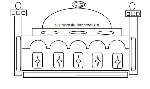 Mewarnai gambar masjid4 anak muslim