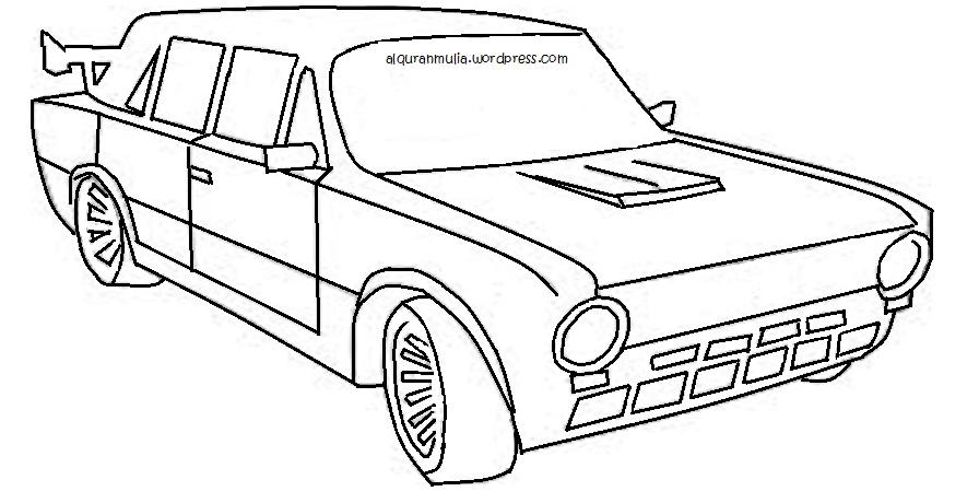 Mewarnai gambar mobil2 anak muslim