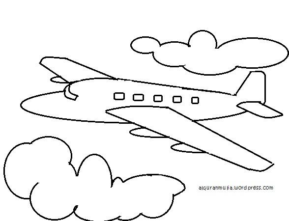 Mewarnai Gambar Pesawat Terbang Anak Muslim Alqur Anmulia