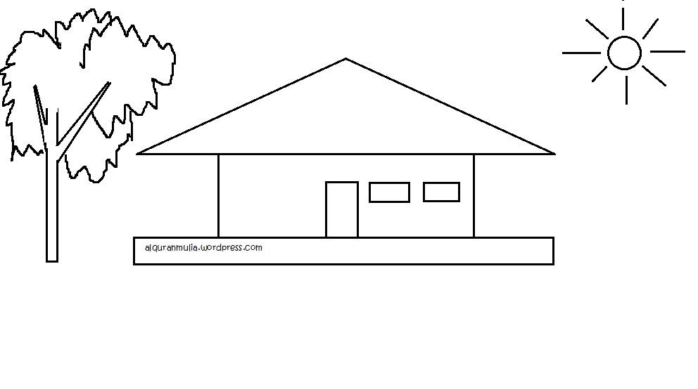 Mewarnai Gambar Rumah Anak Muslim Alqur Anmulia
