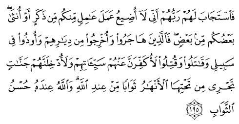 tulisan arab alquran surat ali imraan ayat 195