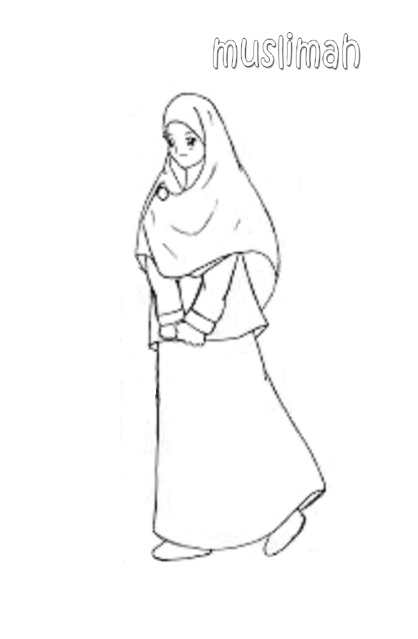 Mewarnai Gambar Anak Muslimah 5 Alquranmulia