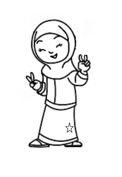 Mewarnai gambar  anak muslimah 6