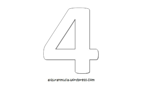 Mewarnai gambar  angka empat anak muslim