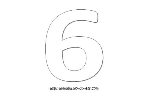 Mewarnai gambar  angka enam anak muslim