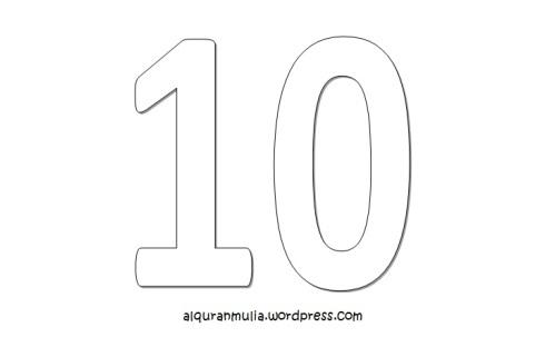 Mewarnai gambar  angka sepuluh anak muslim