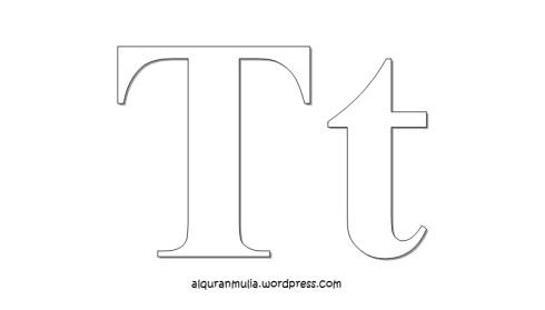 Mewarnai gambar huruf Alphabet T anak muslim