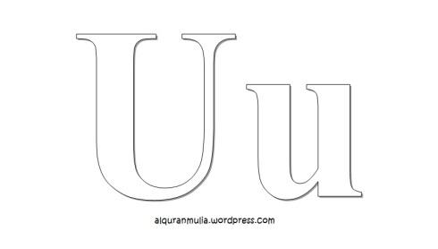 Mewarnai gambar huruf Alphabet U anak muslim