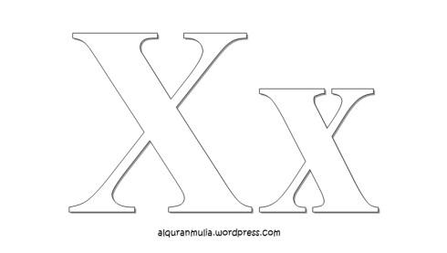 Mewarnai gambar huruf Alphabet X anak muslim