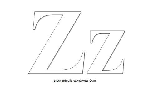 Mewarnai gambar huruf Alphabet Z anak muslim