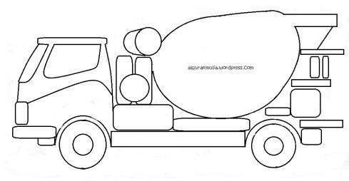 Mewarnai gambar mobil truk molen anak muslim