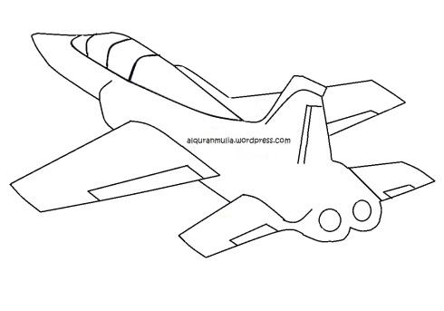 Mewarnai gambar pesawat tempur3 anak muslim