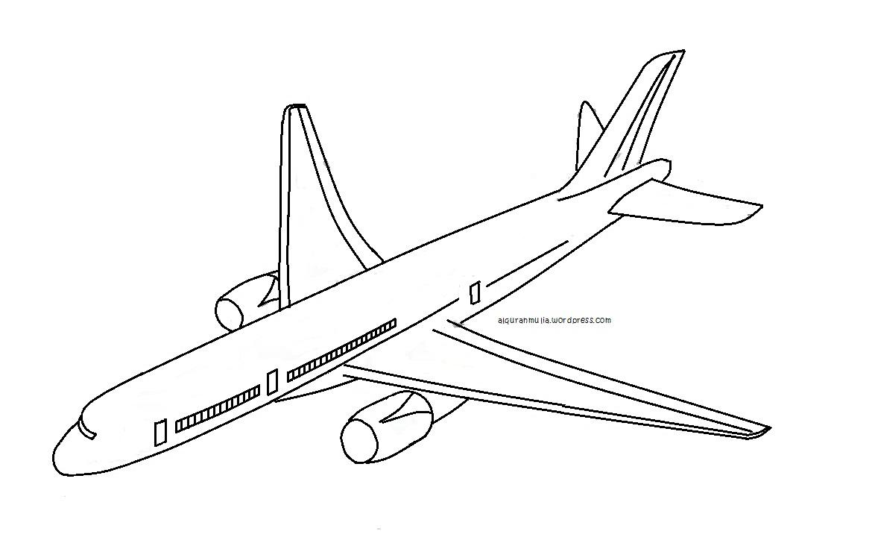 Mewarnai Gambar Pesawat Terbang2 Anak Muslim Alqur Anmulia