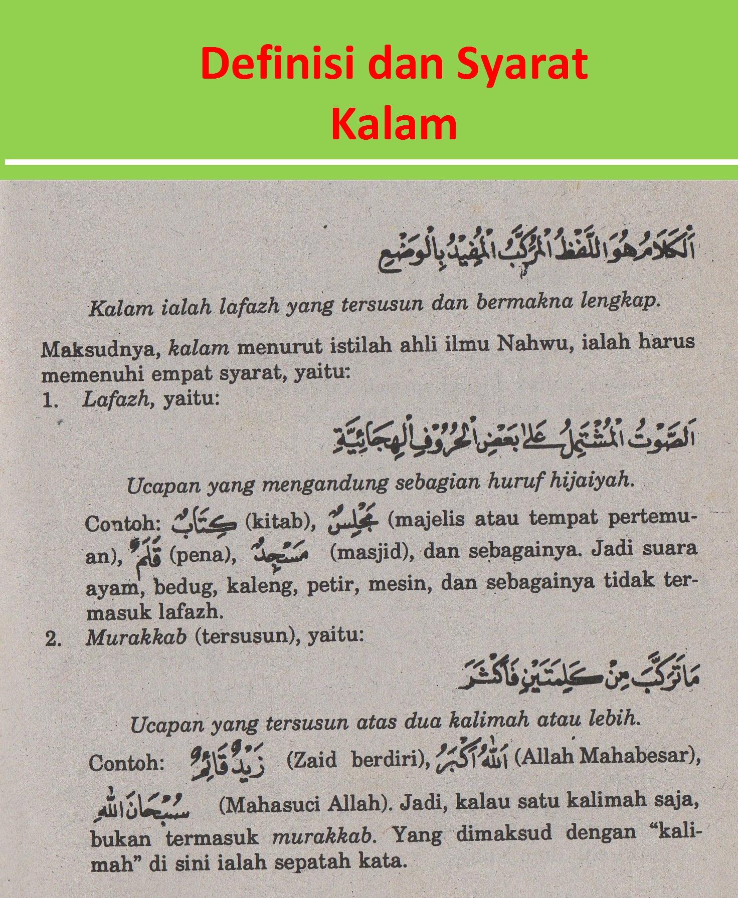 belajar bahasa arab ilmu nahwu definisi kalam & syaratnya