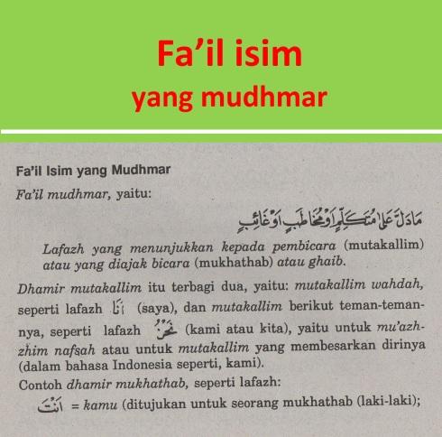 belajar bahasa arab ilmu nahwu fa'il isim yang mudhmar