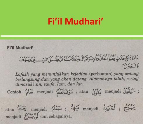 belajar bahasa arab ilmu nahwu fi'il mudhari'