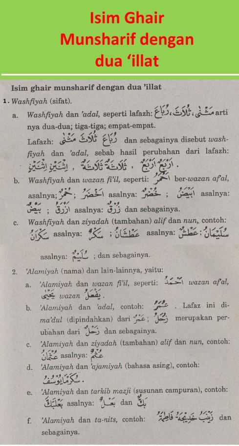 belajar bahasa arab ilmu nahwu isim ghair munsharif dengan dua 'illat