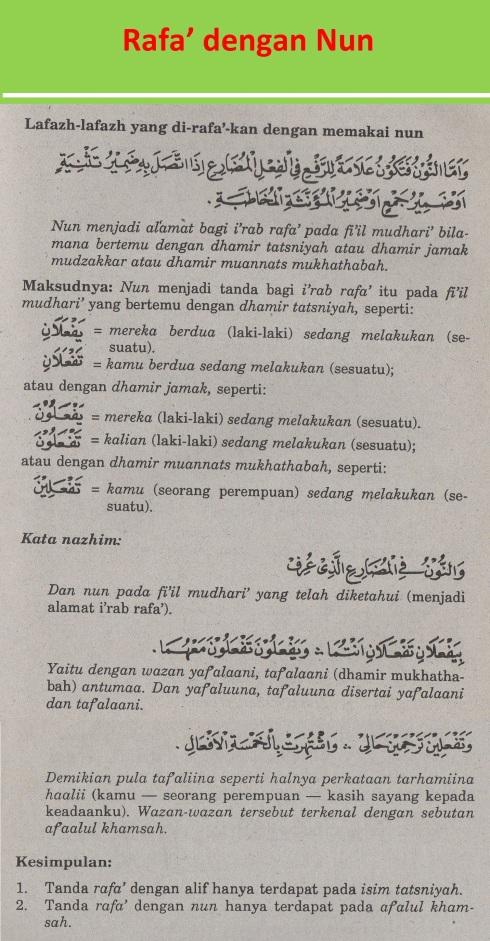 belajar bahasa arab ilmu nahwu rafa' dengan nun