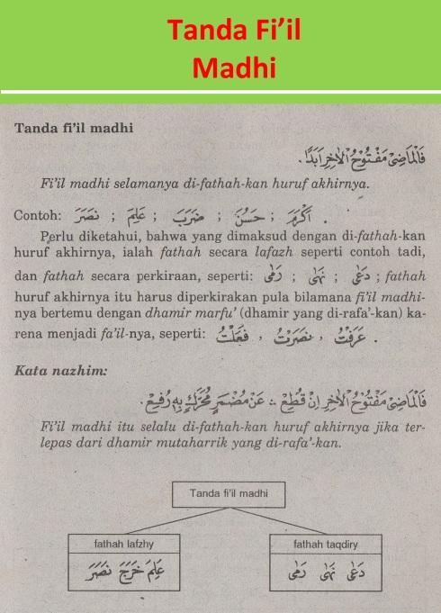 belajar bahasa arab ilmu nahwu tanda fi'il madhi